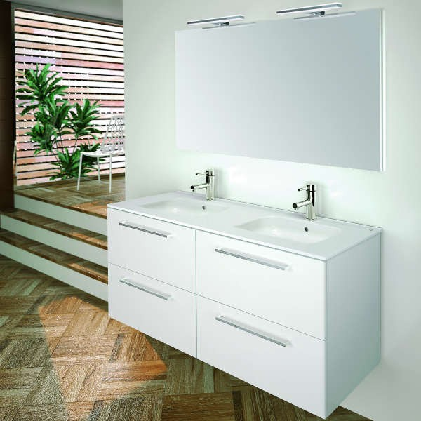 Mueble Baño Gris Arenado:Mueble de Baño VALENCIA 120 Mueble + Lavabo + Espejo + Luminaria