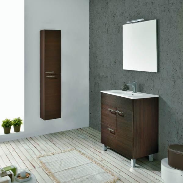 Mueble Baño Gris Arenado:Mueble de Baño BILBAO 60 Mueble + Lavabo + Espejo + Luminaria