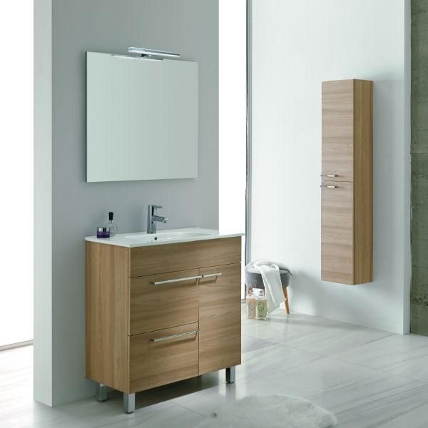 Mueble de Baño BILBAO 70 Mueble + Lavabo + Espejo + Luminaria
