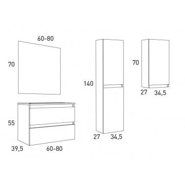Mueble de baño BOX 60 2C Fondo Reducido