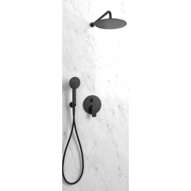 Conjunto de ducha empotrado  ROUND NEGRO monomando