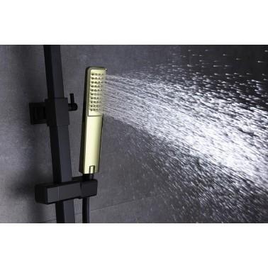 Conjunto de ducha SUECIA monomando negro mate y oro brillo.