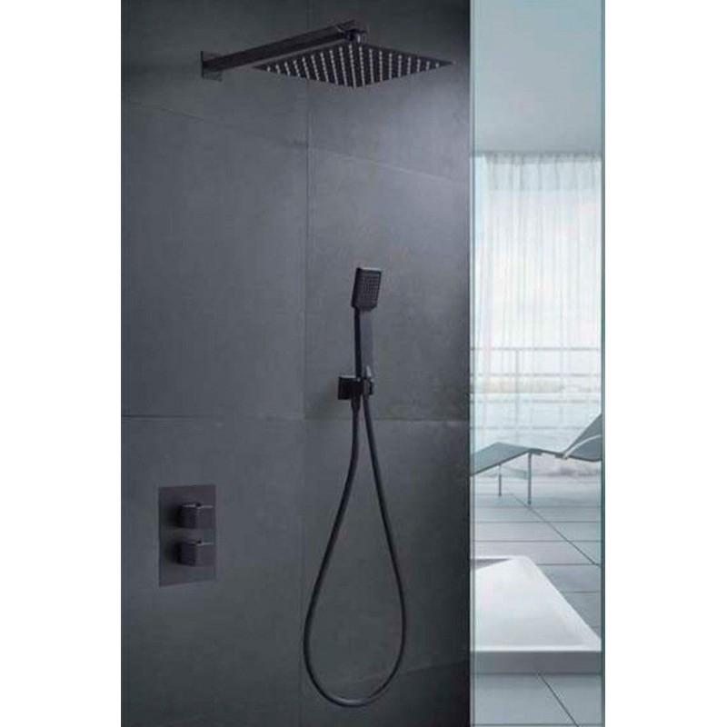 Conjunto empotrado ducha CIES NEGRO MATE termostático