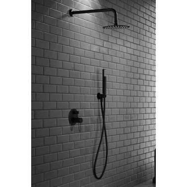 Conjunto de ducha empotrado MILOS monomando NEGRO MATE