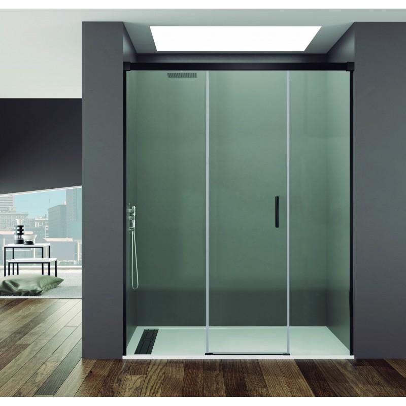 Mampara ducha fijo + puerta + fijo BASIC NEGRA