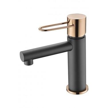 Grifo monomando lavabo MILOS negro oro rosa