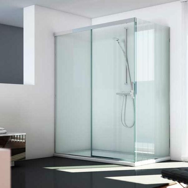 Mampara ducha hoja fija corredera fijo lateral a for Mamparas ducha a medida