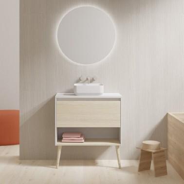 Mueble de baño con lavabo sobre encimera NARA TOP de 60 cm