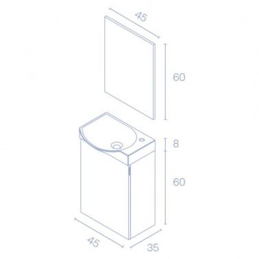 Mueble de baño MIKA de 45 cm Fondo Reducido
