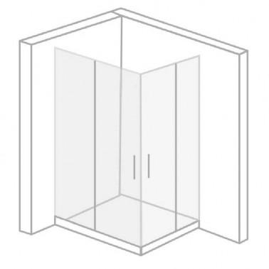 Mampara ducha angular 2 fijos + 2 correderas vidrio mate MUNICH