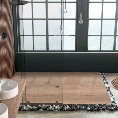 Plato de ducha de resina decorado madera AMAZONAS