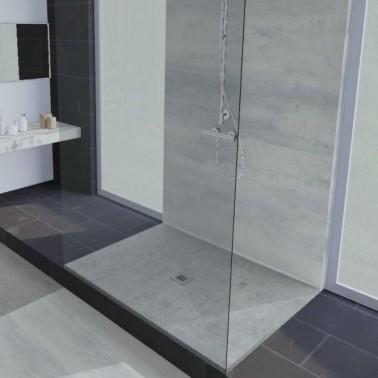 Plato de ducha de resina decorado cemento DOLMEN