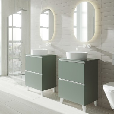 Mueble de baño GRANADA 60 con patas lavabo sobre encimera