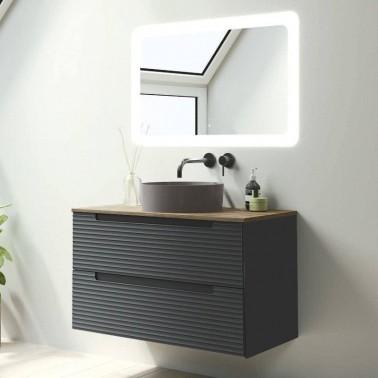 Mueble de baño Kyoto 60 2 cajones con lavabo sobre encimera