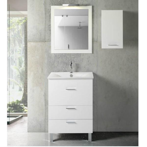 Mueble de ba o online modelo parma acabado en blanco lacado for Mueble lavabo 50 ancho