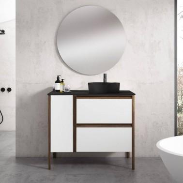 Mueble de Baño ICON 100 1 puerta y 2 cajones con lavabo sobre encimera