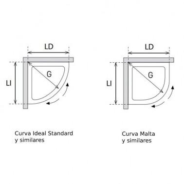 Mampara de Ducha Semicircular 2 Correderas + 2 Fijos CUMUS