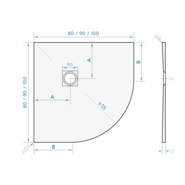 Plato de ducha semicircular de resina modelo NATURE CURVE