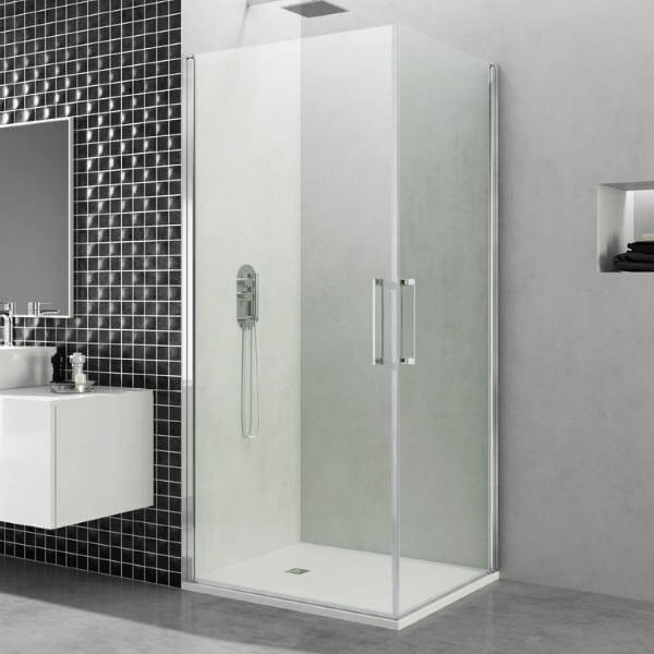 Mampara de ducha modelo angular abatible de 2 puertas open - Manparas de ducha ...