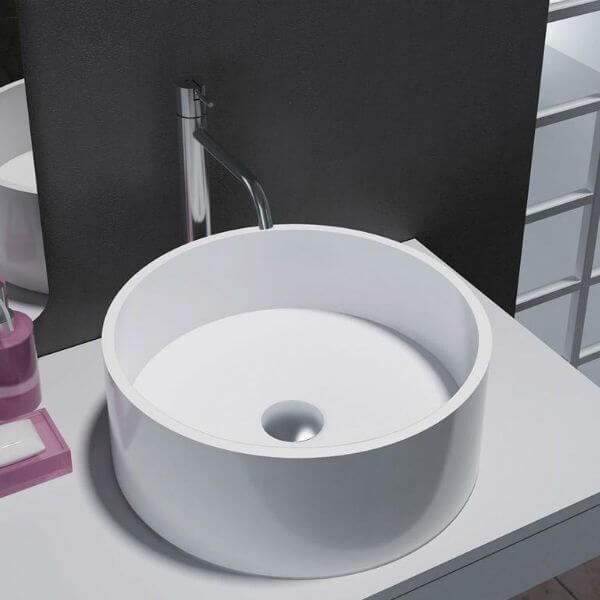 Lavabo Circular Solid Surface Modelo Lucena Disponible En