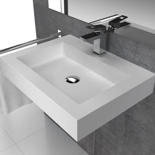 Lavabo rectangular solid surface modelo bristol online for Marcas lavabos