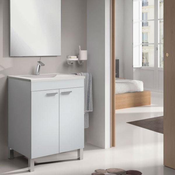 Mueble de ba o barato con patas dos puertas lavabo y for Mueble bano dos lavabos baratos