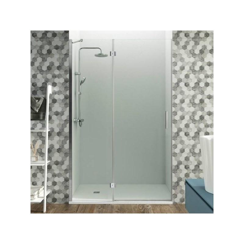 Mampara frontal fijo + puerta abatible GLASS con cierre imán a pared