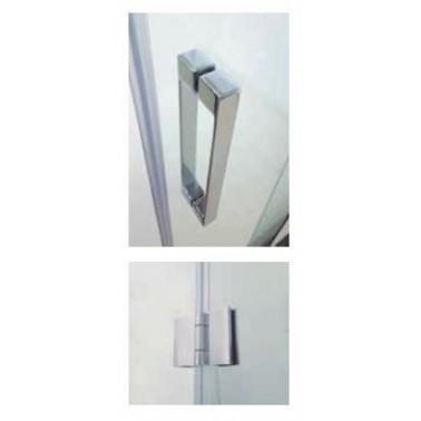 Mampara fijo + puerta plegable GLASS con cierre perfil imán