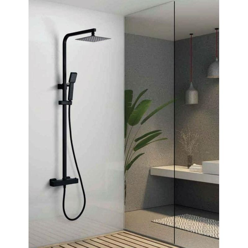 Conjunto de ducha termostático VIGO negro mate