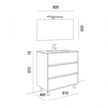 Mueble de Baño ARENYS 80 3C