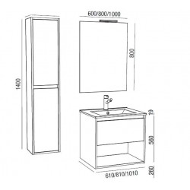 Mueble de Baño NOJA 80 1C + hueco