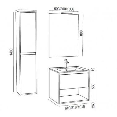 Mueble de Baño NOJA 60 1C + hueco