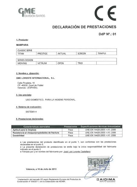 certificado mampara modelo aktual